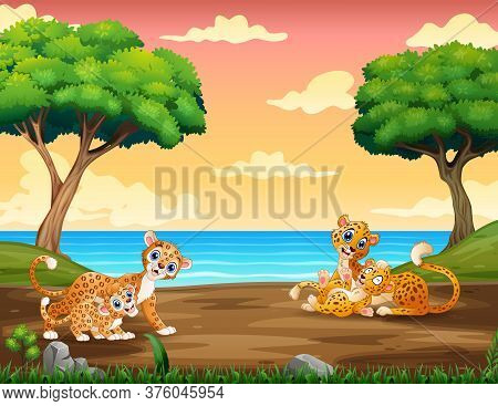 Cartoon Leopard Playing With Her Cub At At The Zoo