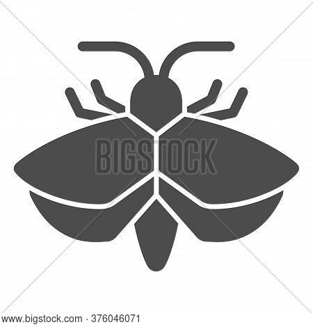 Moth Solid Icon, Insects Concept, Mole Sign On White Background, Moth Silhouette Icon In Glyph Style