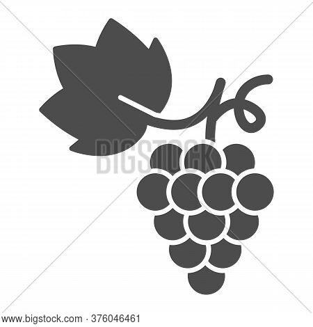 Bunch Of Grapes Solid Icon, Summer Concept, Grapes Sign On White Background, Bunch Of Wine Grapes Wi