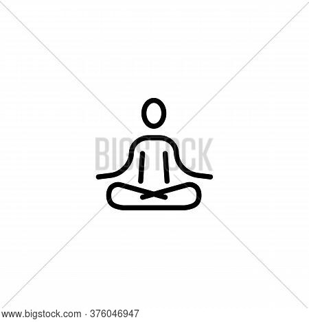 Meditation Icon Line Symbol. Yoga, Fitness Exercise. Vector On Isolated White Background. Eps 10