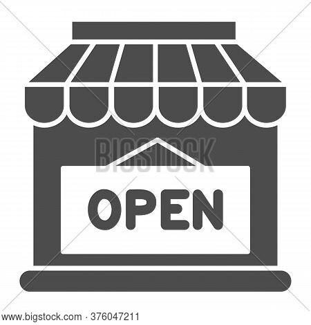 Open Shop Building Solid Icon, Market Concept, Store With Open Signboard On White Background, Store