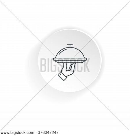 Food Serving Tray In Hand Waiter. Vector On Isolated White Background. Eps 10