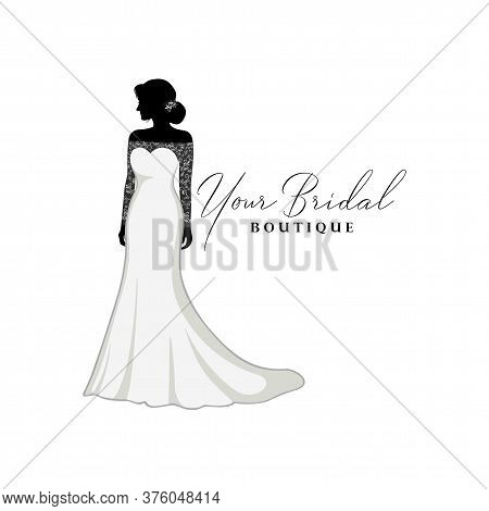 Beautiful Bride With Brocade Gown, Bridal Boutique Logo, Bridal Gown Logo Vector Design Template
