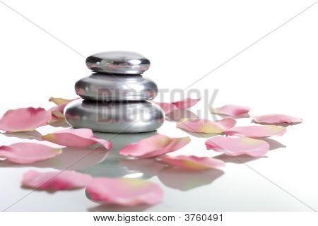 Pile Of Stones With Rose Petals  Zen Concept