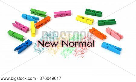 New Normal Text With Colorful Clips Isolated On White Background.