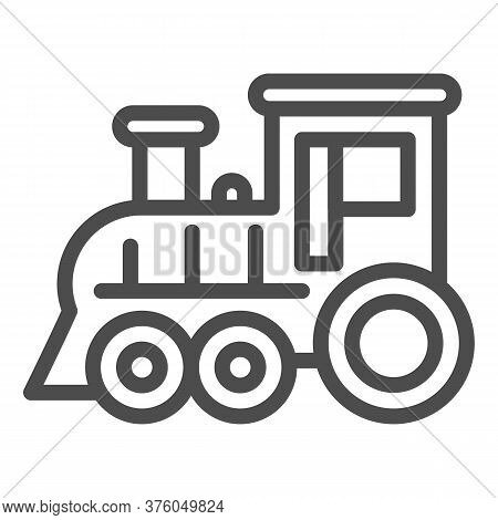 Locomotive Line Icon, Amusement Park Concept, Train Sign On White Background, Locomotive Toy Icon In