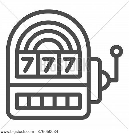 Slot Machine Line Icon, Entertainment Concept, Casino Symbol On White Background, Lucky Seven On Slo