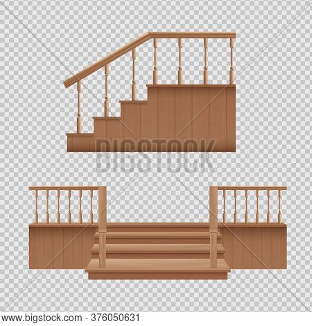 Wooden Porch Staircase Set - Home Entrance Stairs From Front And Side View