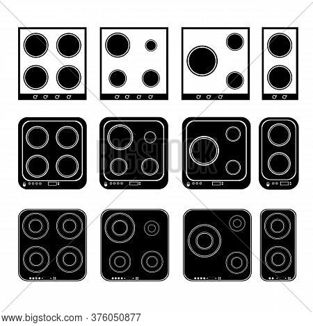 Hob With Hobs. Set Of Electric Hobs Black White. 2 3 And 4 Rings. Vector