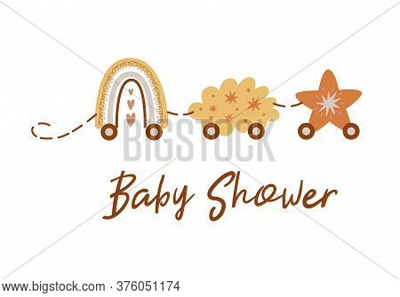 Boho Baby Shower Invitation Template With Train From Rainbow, Cloud, Star. Cute Baby Shower Card Wit
