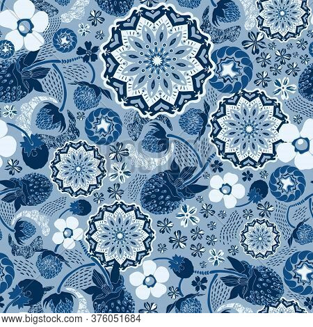 Art, Backdrop, Background, Berry, Blossom, Blue-tinted, Botanical, Circular, Classic Blue, Dark Blue