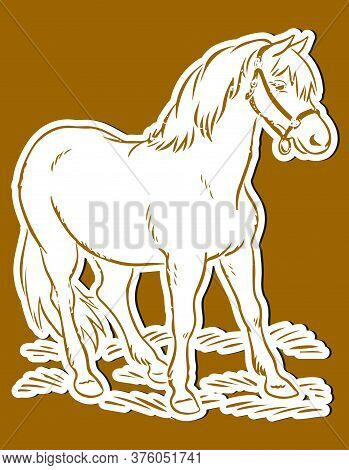 Drawing Or Sketch Of Single Horse Standing Inside The Shed Editable Vector Outline Illustration