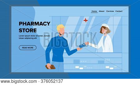 Pharmacy Store Seller Selling Medicament Vector Illustration