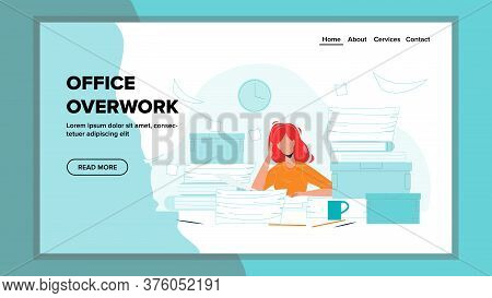 Office Overwork Sadness Woman Working Place Vector