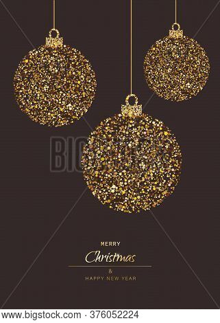 Merry Christmas and Happy New Year card with lettering and glitter decoration. Christmas. Christmas Vector. Christmas Background. Merry Christmas Vector. Merry Christmas banner. Christmas illustrations. Merry Christmas Holidays. Merry Christmas and Happy