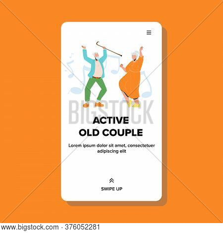 Active Old Couple Dancing Dance Funny Time Vector