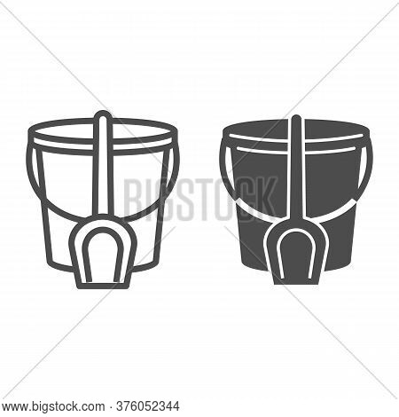 Bucket And Spatula Line And Solid Icon, Kids Toys Concept, Toys For Sandbox Sign On White Background
