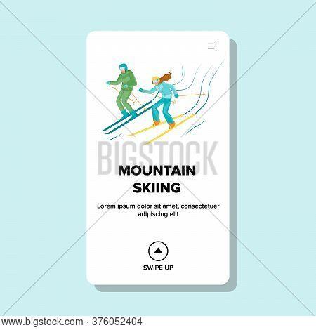 Mountain Skiing Active Sportive Vacation Vector Illustration