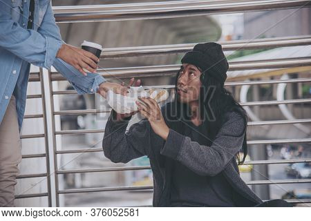 Woman Helping Hands To Homeless People Poverty Beggar Man Holding Hands Asking For Money Job And Hop