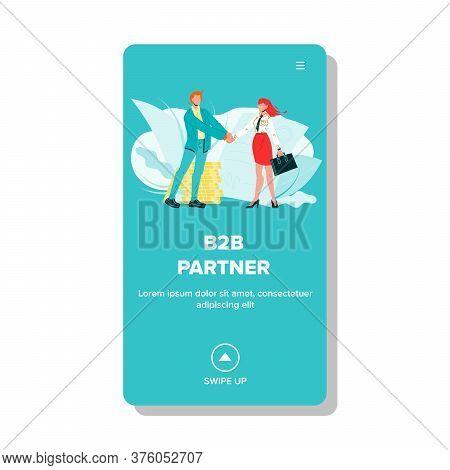 B2b Partner Handshake Deal Businessman Vector Illustration