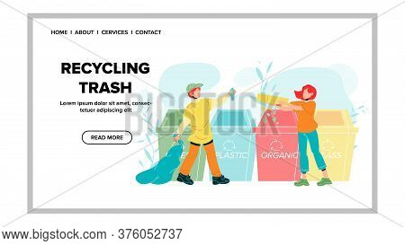 Recycling Trash Rubbish Throw Boy And Girl Vector