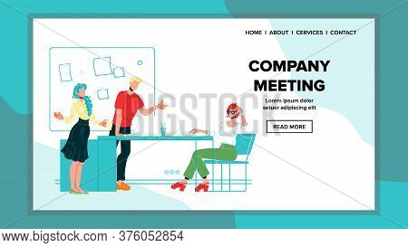 Company Meeting, Briefing Or Conference Vector Illustration