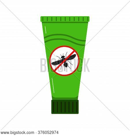 Mosquito Repellent Cream Icon Isolated On White Background In Flat Style. Green Plastic Tube With St
