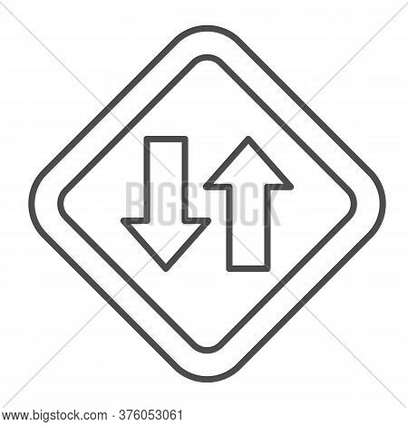 Two Way Traffic Thin Line Icon, Navigation Concept, Traffic Sign On White Background, Two Way Road I