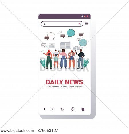 Mix Race People Reading Newspapers And Discussing Daily News Chat Bubble Communication Press Mass Me