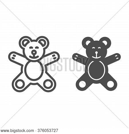 Teddy Bear Line And Solid Icon, Kids Toys Concept, Plush Toy Sign On White Background, Little Teddy