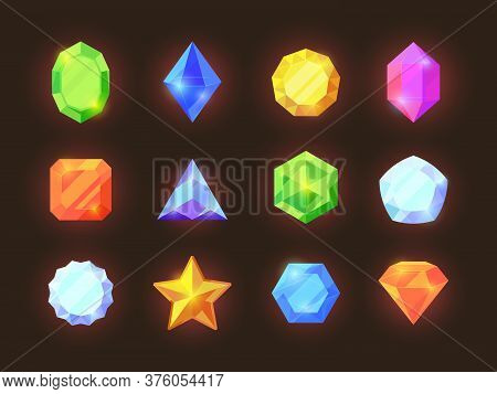 Game Color Crystals Set. Shiny Jewelry Of Various Geometric Shapes Blue Diamonds Orange Sapphires Gr