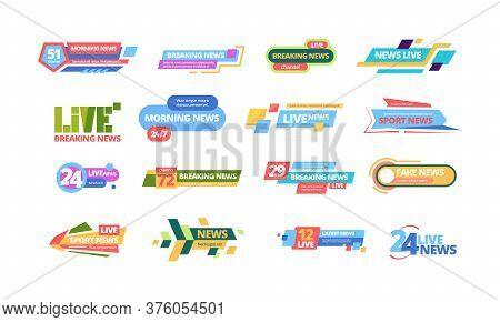 News Title Banner Large Set. Headline Television Poster Media Online Information Color Bar Daily Bro