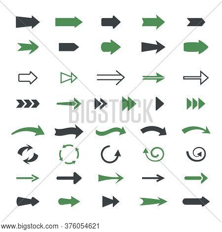 Varieties Arrows Set. Variety Of Black Green Symbols Pointers Straight Curved And Rounded Graphical