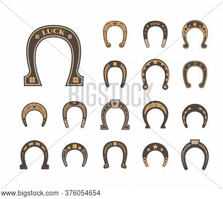 Horseshoes Good Luck Set. Metallic Stylish Retro Luck Mascot Equipment Protecting Horse Hooves Symbo