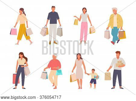 People With Shopping Set. Characters With Paper Bags Returning From Market Happy Woman Child Elderly