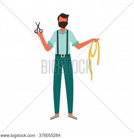 Dressmaker Or Fashion Designer Man Character Flat Vector Illustration Isolated.