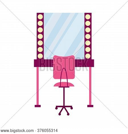 Make Up Table With Mirror And Chair, Flat Cartoon Vector Illustration Isolated.