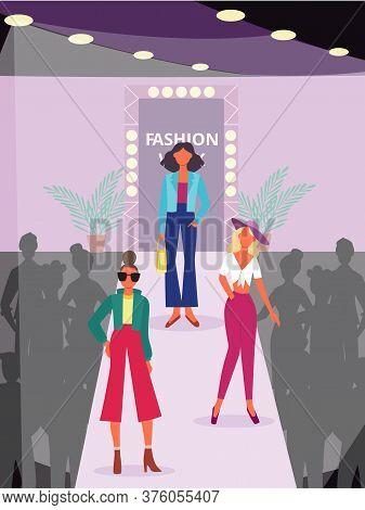 Fashion Show Poster With Cartoon Model Women Walking On Catwalk Podium