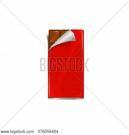 Chocolate Bar In Candy Wrapper, Vector Icon Of Package With Open Corner Of Paper Foil. Dark Or Milk