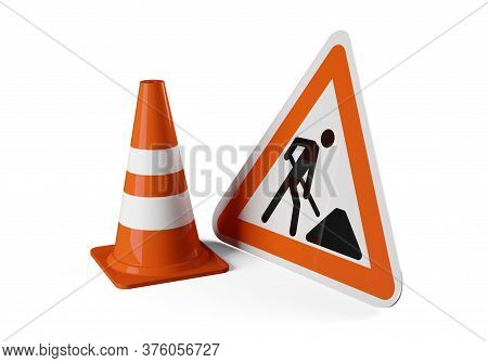 Single Orange Traffic Warning Cone Or Pylon With Street Or Road Construction Sign On White Backgroun