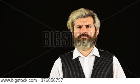 Commercial Announcement. Retro Gentlemen. Mature Handsome Man. Man In Vintage Style. Brutal Bearded