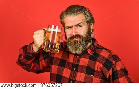 Hipster Dude With Mustache. Mug Of Alcohol Beverage. Confident Bartender. Barman In Bar. Rest At Pub