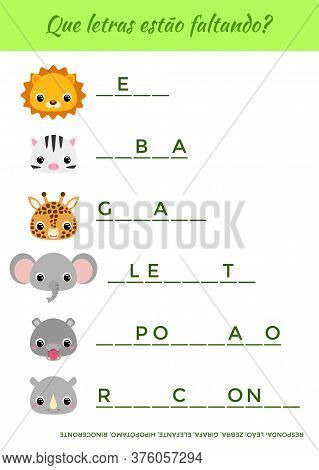 Que Letras Estão Faltando? - What Letters Are Missing? Complete The Words. Matching Educational Game