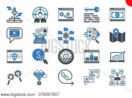 Seo Glyph Icons Set. Seo Related Vector Glyph Icons. Website And App Design And Development. Simple