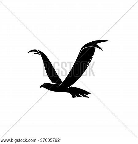 Flying Hawk Isolated Bird Silhouette. Vector Eagle Or Falcon In Flight, Heraldry Mascot Symbol