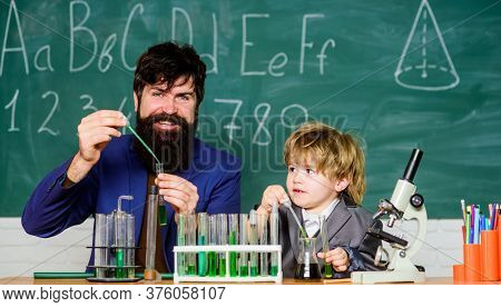 Attention Deficit Hyperactivity Disorder. Teacher Child Test Tubes. School Lesson. Chemical Experime