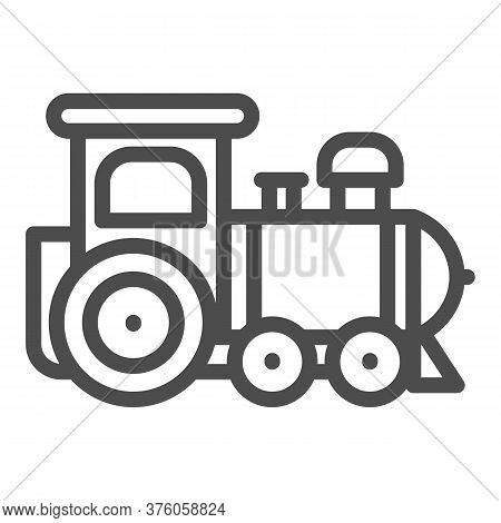 Engine Toy Line Icon, Kids Toys Concept, Little Train Sign On White Background, Locomotive Toy Icon