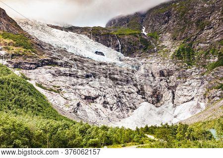 Norwegian Mountains Landscape. Boyabreen Glacier In Fjaerland Area In Sogndal Municipality In Sogn O