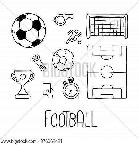 Football Icons With Lettering. Hand Draw Vector Line Illustration. The Set Consists Of Balls, Cup, W