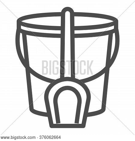 Bucket And Spatula Line Icon, Kids Toys Concept, Toys For Sandbox Sign On White Background, Trowel A